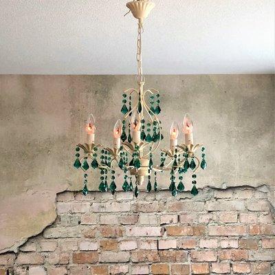 Kroonluchter met groene kristallen incl. sfeer lampen