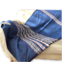 Grote woonplaid Grieks 100% katoen blauw